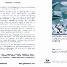 Report Diamante certificato IGI - 0,30 ct colore F purezza VS1