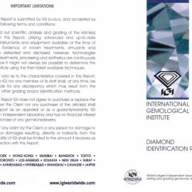 Report Diamante certificato IGI - 0,30 ct colore F purezza VS2