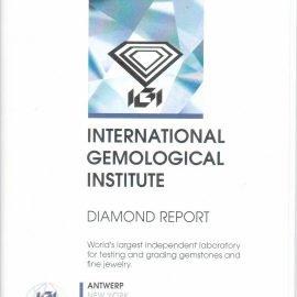 Report Diamante certificato IGI - 0,62 ct colore G purezza VVS2