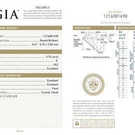Diamante Certificato GIA - 0.70 ct colore D purezza VS2 taglio Eccellente