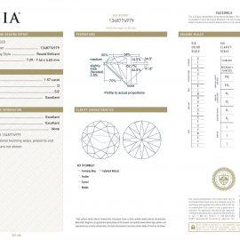 Diamante Certificato GIA - 1.57 ct colore D purezza SI2 taglio Eccellente