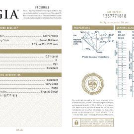 Diamante Certificato GIA - 0.31 ct colore F purezza VS1 taglio Eccellente