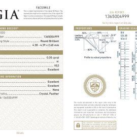 Diamante Certificato GIA - 0.30 ct colore H purezza VS2 taglio Eccellente