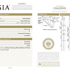 Diamante Certificato GIA - 0.30 ct colore E purezza IF taglio Eccellente