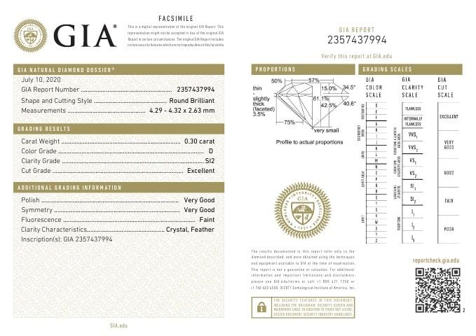 Diamante Certificato GIA - 0.30 ct colore D purezza SI2 taglio Eccellente