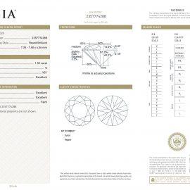 Diamante Certificato GIA - 1.52 ct colore G purezza VS1 taglio Eccellente