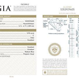 Diamante Certificato GIA - 0.90 ct colore E purezza VVS2 taglio Eccellente