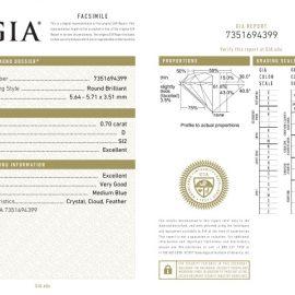 Diamante Certificato GIA - 0.70 ct colore D purezza SI2 taglio Eccellente