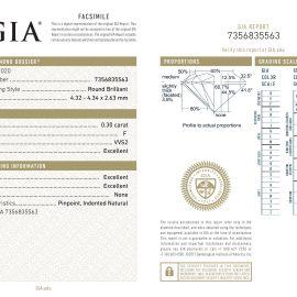 Diamante Certificato GIA - 0.30 ct colore F purezza VVS2 taglio Eccellente