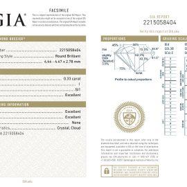 Diamante Certificato GIA - 0.33 ct colore I purezza SI1 taglio Eccellente