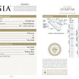 Diamante Certificato GIA - 0.30 ct colore G purezza SI2 taglio Molto Buono