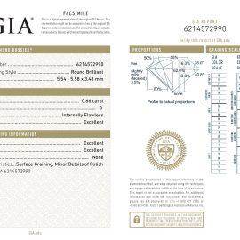 Diamante Certificato GIA - 0.66 ct colore D purezza IF taglio Eccellente